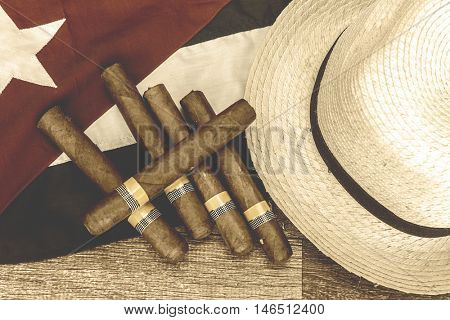 Table with cuban items, retro photo