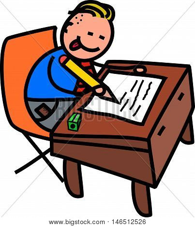 A cute doodle drawing of a happy little boy in school uniform writing at a desk.