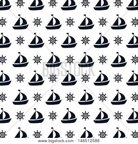 sailboat ship. nautical boat with flag background. vector illustration