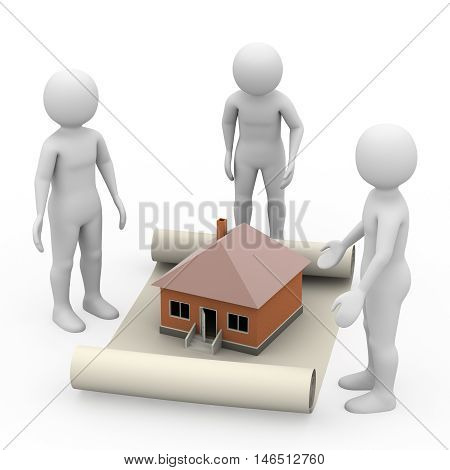 Men With Manuscript And House On White Background, 3D Rendering