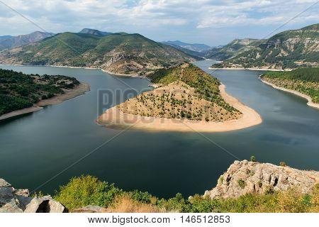 Meander of Arda River dam Kardzhali Bulgaria