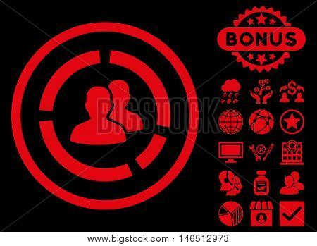 Demography Diagram icon with bonus. Vector illustration style is flat iconic symbols, red color, black background.
