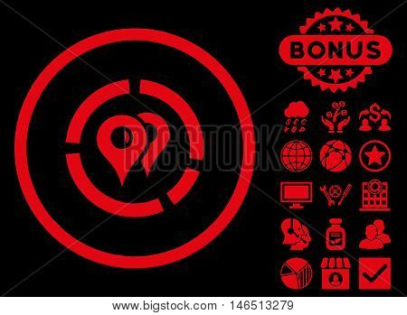 Geo Diagram icon with bonus. Vector illustration style is flat iconic symbols, red color, black background.
