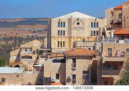 Safed, Upper Galilee, Israel - July 19: Great Synagogue of Bratslav Hasidic in old city Safed on July 19, 2016, Upper Galilee, Israel