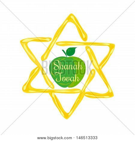 Rosh Hashanah Jewish New Year concept. Traditional holiday symbols. Cute bright apple, honey. Template for greeting card. Design idea with element of happy party background. Vector illustration