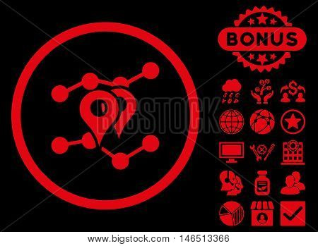 Geo Trends icon with bonus. Vector illustration style is flat iconic symbols, red color, black background.