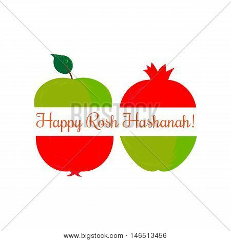 Rosh Hashanah Jewish New Year concept. Traditional holiday symbols. Cute bright apple, pomegranate. Template for greeting card. Design idea with element of happy party background. Vector illustration