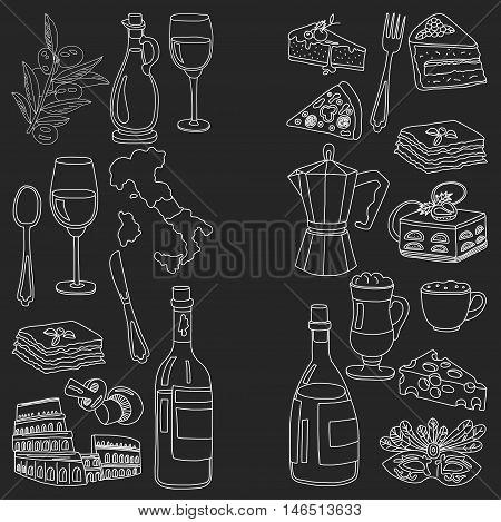 Vector doodle set for italian menu. Journey to italian cuisine and culture
