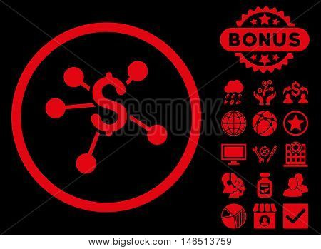 Money Emission icon with bonus. Vector illustration style is flat iconic symbols, red color, black background.
