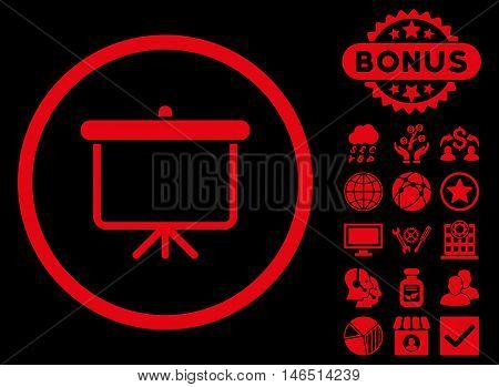 Projection Board icon with bonus. Vector illustration style is flat iconic symbols, red color, black background.