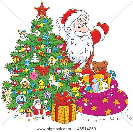The night before Christmas, Santa Claus with his holiday gifts and a festively decorated fir