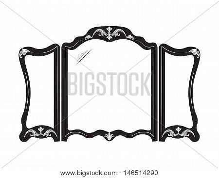 Vintage mirror frame. French Retro style carved furniture. Royal style collection