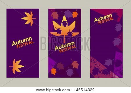 Set of vertical vector banners. Element for design of autumn fall festival. Template for creative leaflet brochure background. Organized layers, easy to edit. Vintage retro style. Vector illustration.