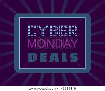 Super sale Concept. Cyber Monday special bonus. Template promotion poster on discount offer. Design idea element of season hot deal campaign banner. Background for advertisement. Vector illustration