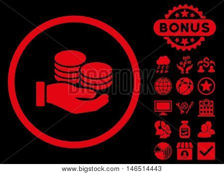 Salary Coins icon with bonus. Vector illustration style is flat iconic symbols, red color, black background.