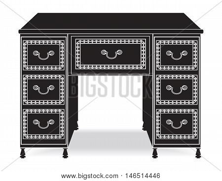 Vintage Baroque Rich Commode Dressing table with luxurious ornaments. Vector