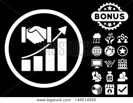 Acquisition Growth icon with bonus. Vector illustration style is flat iconic symbols, white color, black background.