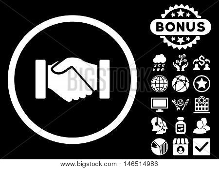 Acquisition Handshake icon with bonus. Vector illustration style is flat iconic symbols, white color, black background.