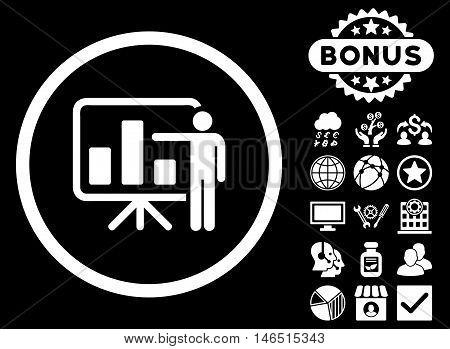 Bar Chart Presentation icon with bonus. Vector illustration style is flat iconic symbols, white color, black background.