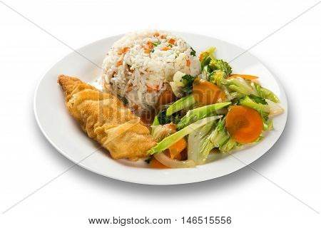 view of fried fish with rice and vegetables on white big plate in white background