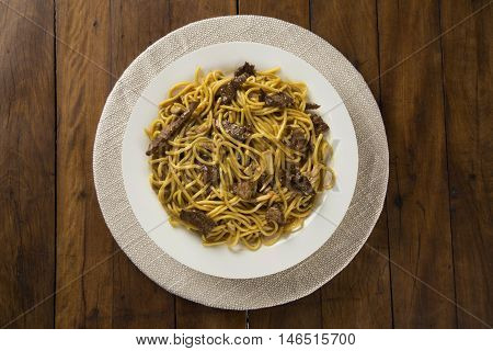 Thai food Pad thai Stir fry noodles with meat