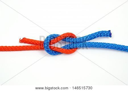 Node with colored ropes, on white background