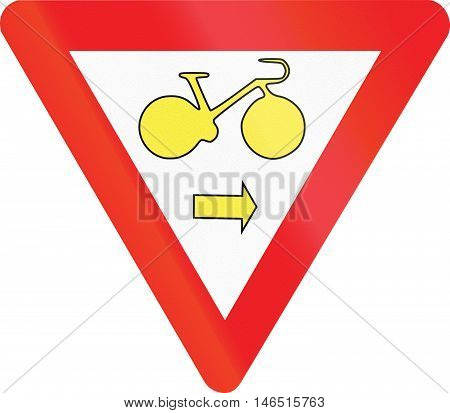 Belgian Regulatory Road Sign - Cyclists May Turn Right In Spite Of Red Light. Give Way