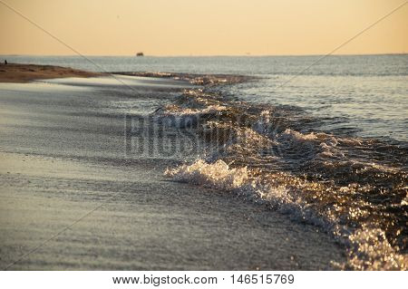 Beach holidays vacation romantic concept background with waves