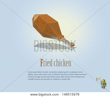 PrintVector polygonal illustration of fried chicken leg, modern food icon, low poly