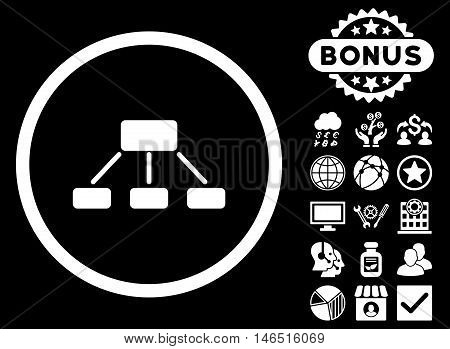 Hierarchy icon with bonus. Vector illustration style is flat iconic symbols, white color, black background.