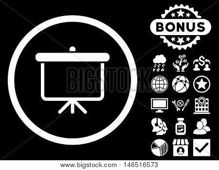 Projection Board icon with bonus. Vector illustration style is flat iconic symbols, white color, black background.