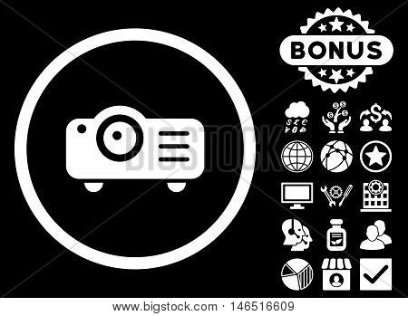 Projector icon with bonus. Vector illustration style is flat iconic symbols, white color, black background.