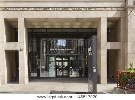 MILAN, ITALY - APRIL 14 2015: Entrance doorway of Museo del Novecento in Milan Italy with nobody around