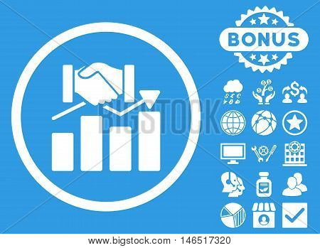 Acquisition Graph icon with bonus. Vector illustration style is flat iconic symbols, white color, blue background.