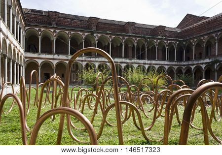 MILAN, ITALY - APRIL 14 2015: Design installation during the design week in the lavatory cloister of Milan public university
