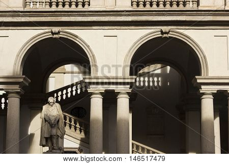 MILAN, ITALY - APRIL 14 2015: Architectural close up of Accademia di Brera courtyard in the centre of Milan Italy