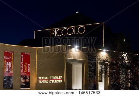 MILAN, ITALY - APRIL 14 2016: Night view of Piccolo Teatro in Milan