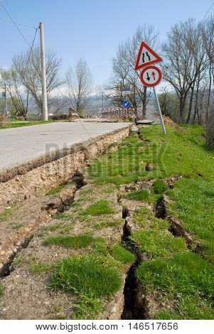 A road landslide, destroyed by an earthquake