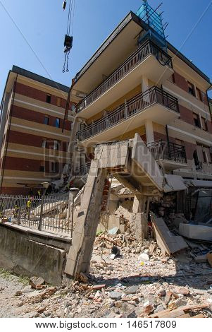 City destroyed by an earthquake, collapsed building