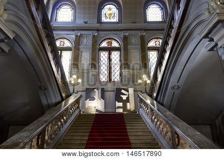 MILAN, ITALY - APRIL 16 2015: Monumental staircase of the historic Palazzo Arese Litta in Milan Italy