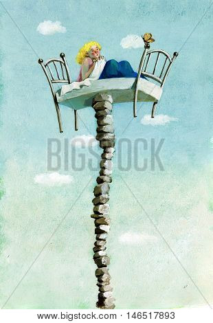 a girl curled up in her bed which is suspended on a precarious tower of stones she looks scared a butterfly hoping not to lose balance