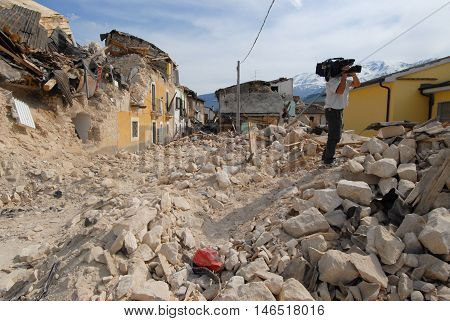 A street of a city destroyed by an earthquake