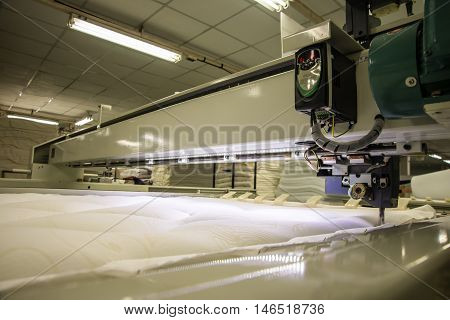 a Industrial big embroidery machine on textile