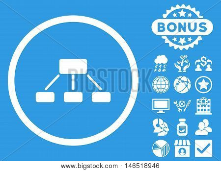 Hierarchy icon with bonus. Vector illustration style is flat iconic symbols, white color, blue background.