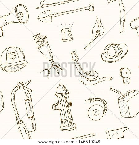 Doodle fire fighting tools seamless pattern Vintage illustration for identity, design, decoration, packages product and interior decorating