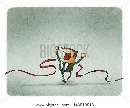 illustration of cheerful businessman crossing the finish line of racing track