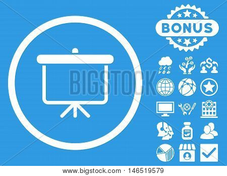 Projection Board icon with bonus. Vector illustration style is flat iconic symbols, white color, blue background.