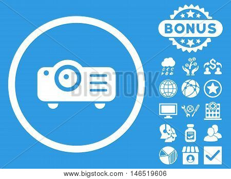 Projector icon with bonus. Vector illustration style is flat iconic symbols, white color, blue background.