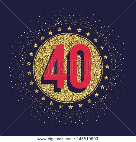 Forty years anniversary celebration logotype. 40th anniversary logo.