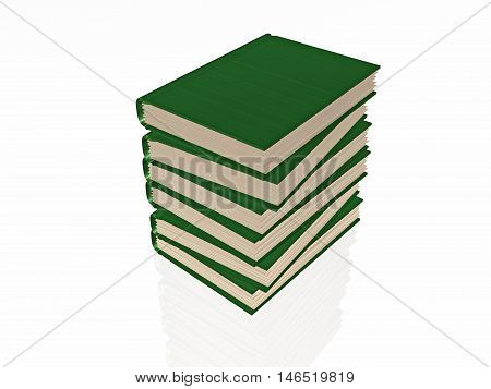 Green books white reflective background, 3D illustration.